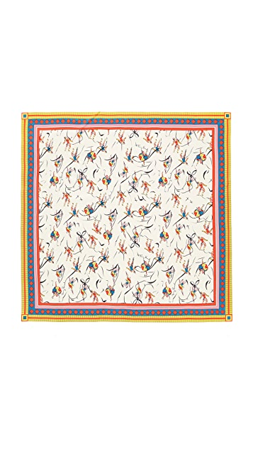 Tory Burch Dancers Silk Square Scarf