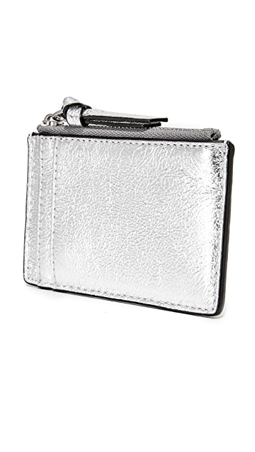 Tory Burch Metallic Zip Card Case