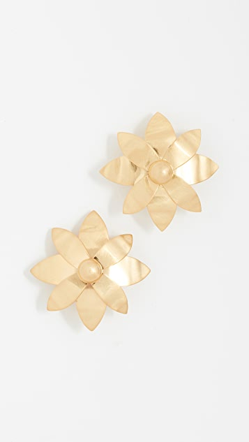 Tory Burch Hammered Metal Willow Clip On Earrings