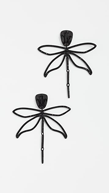 Tory Burch Embellished Articulated Dragonfly Earrings - Black Jet