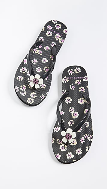 Tory Burch Flower Flip Flops