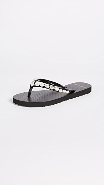 Tory Burch Jeweled Thin Flip Flops