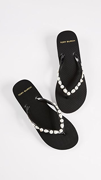 63c6da335ae0 ... Tory Burch Jeweled Thin Flip Flops ...
