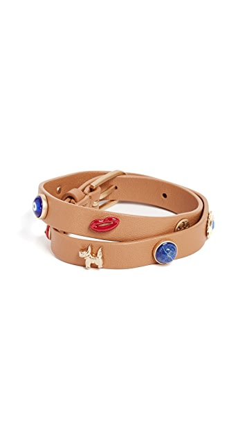 Tory Burch Lazy Charms Double Wrap Bracelet
