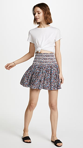 Tory Burch Wildflower Smocked Beach Skirt