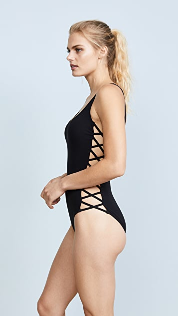 Tory Burch Lace Up Tank Swimsuit