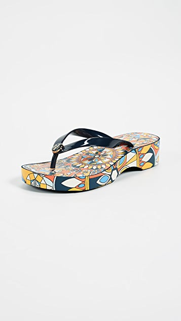 Tory Burch Cut Out Wedge Flip Flops