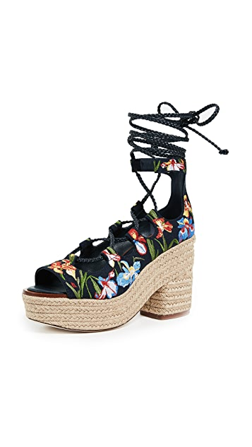 Tory Burch Positano Lace Up Platform Espadrilles
