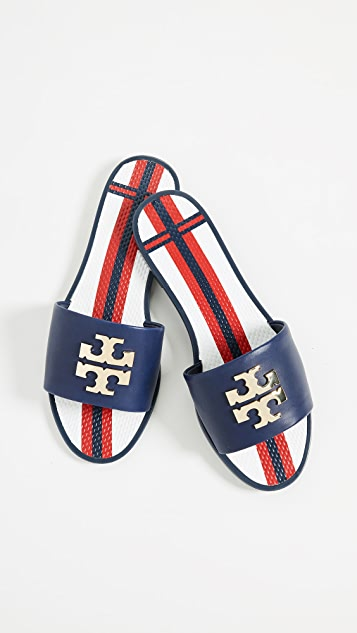 d9418987112 Tory Burch Logo Jelly Slides