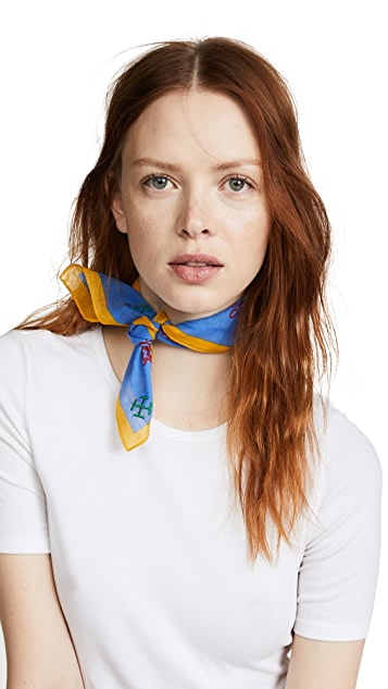 Tory Burch David Hicks Alphabet Embroidered Cotton Neckerchief