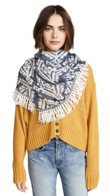 Tory Burch Tapestry Geometric Oblong Scarf