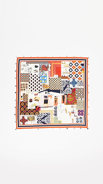 Tory Burch David Hicks Scrapbook Silk Scarf