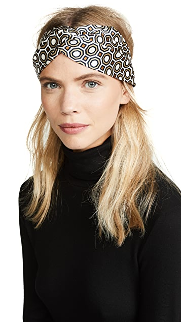 Tory Burch Octagon Printed Silk Headband