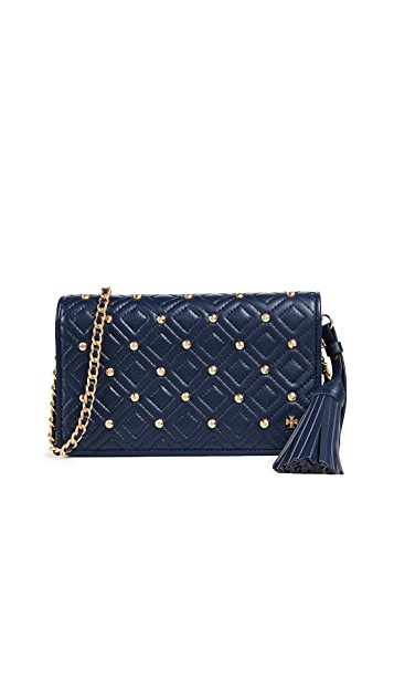 Tory Burch Fleming Stud Flat Wallet on a Chain