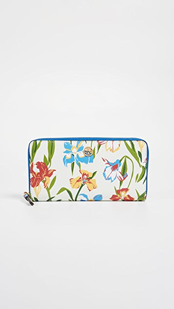 Tory Burch Robinson Floral Zip Continental Wallet