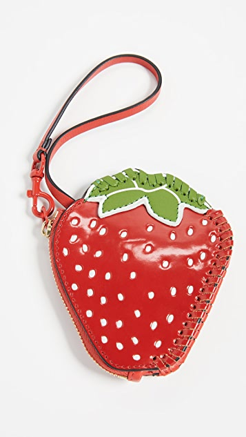 Tory Burch Strawberry Coin Pouch Key Fob