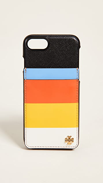 Tory Burch Multi-Stripe Card Case Phone Pocket