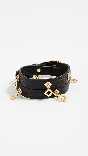 Tory Burch Geo Double Wrap Bracelet - Tory Gold/Black