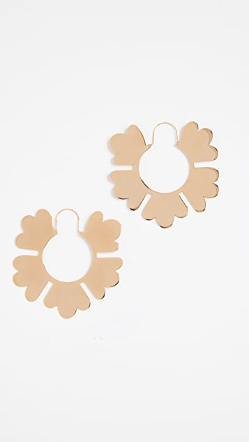 Tory Burch Geo Flower Hoop Earrings