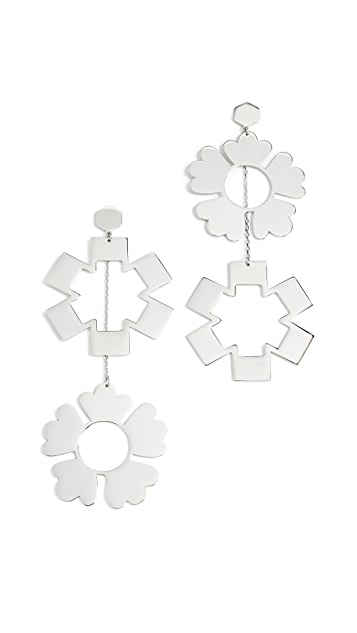 Tory Burch Geo Mismatched Drop Earrings