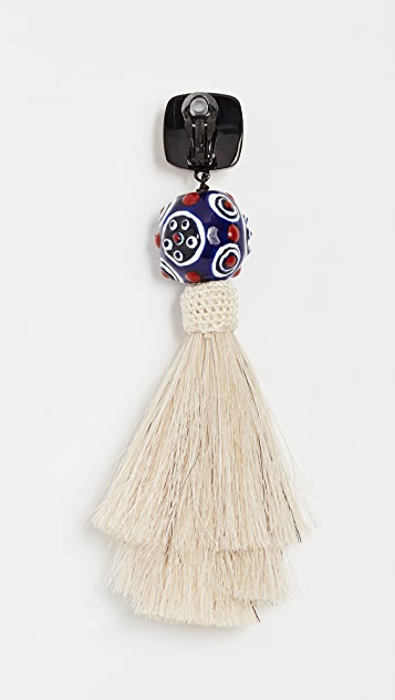 Tory Burch Silk Tassel Clip On Earrings