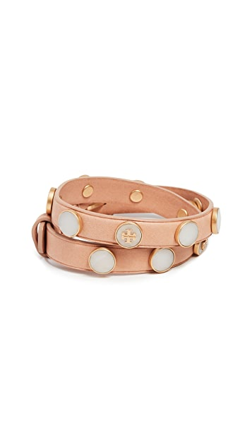 Tory Burch Leather Double Wrap Bracelet