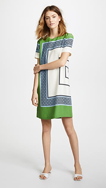 Tory Burch Mallory Dress - Light Chambray Octagon Square