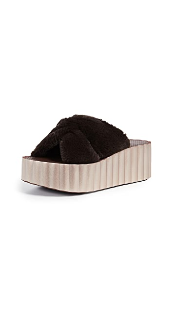 Tory Burch Faux Fur Scallop Slide Sandals