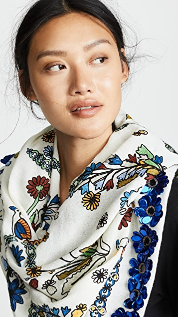 Tory Burch Meadow Sweet Embroidered Oblong Scarf