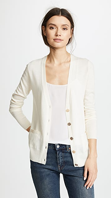 Relaxed V Neck Cardigan by Tory Burch