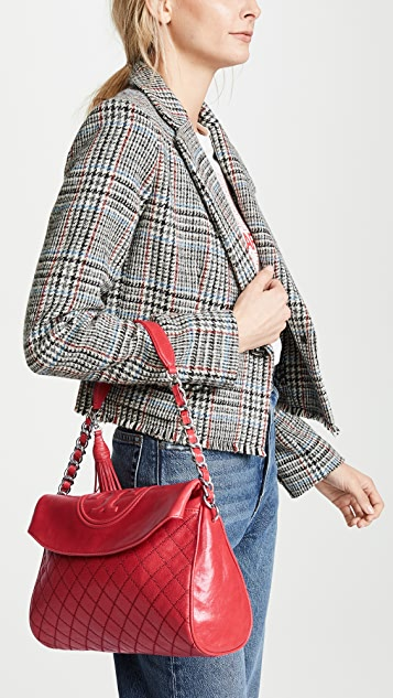 Tory Burch Fleming Distressed Leather Fold Over Hobo