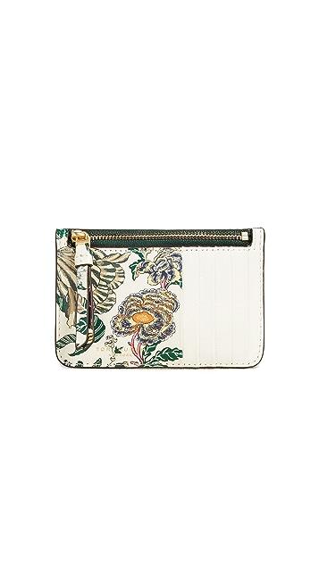 Tory Burch Floral Tassel Top Zip Card Case