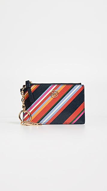 Tory Burch Robinson Stripe Card Case Key Fob