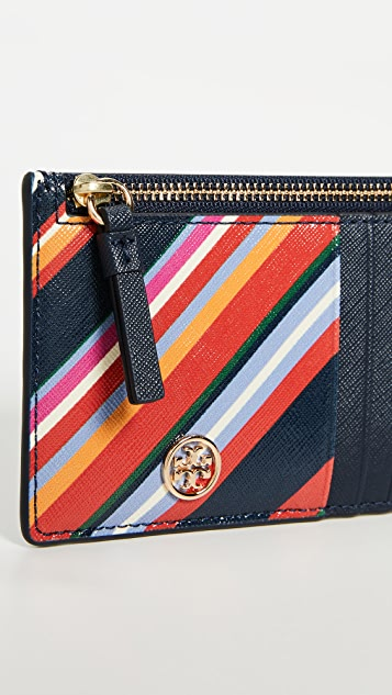 Tory Burch Robinson Stripe Slim Card Case