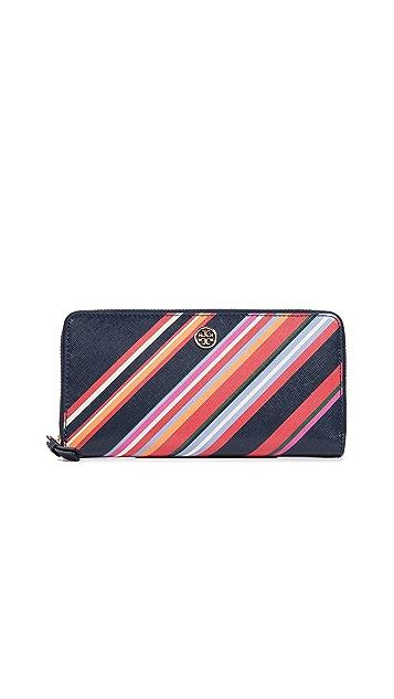 Tory Burch Robinson Stripe Zip Continental Wallet