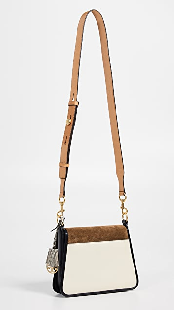 Tory Burch Bennett Mixed Materials Small Saddle Bag