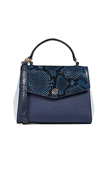 Tory Burch Robinson Mixed Material Top Handle Satchel | SHOPBOP