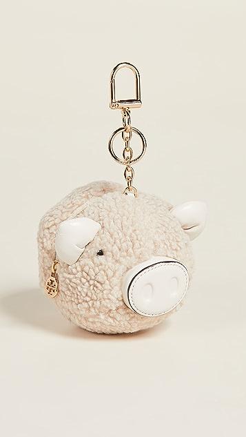 Tory Burch Sherpa Pig Pom Pom Key Fob