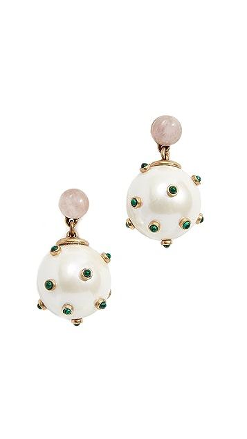 Tory Burch Studded Stone Imitation Pearl Drop Earrings