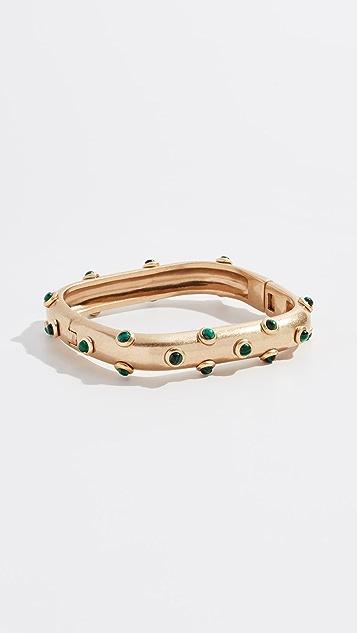 Tory Burch Studded Stone Square Hinged Bracelet