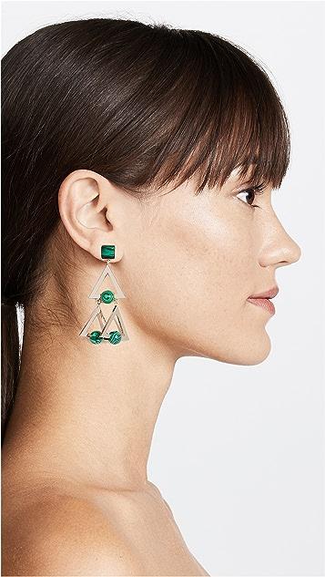 Tory Burch Studded Stone Geo Statement Earrings