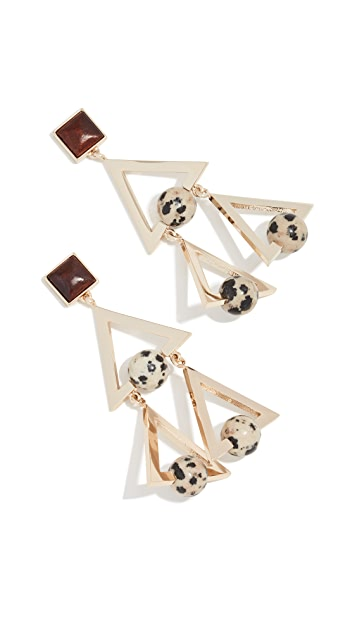 Tory Burch Studded Stone Geo Statement Earrings