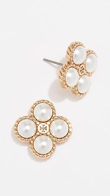 Tory Burch Rope Clover Swarovski Crystal Pearl Stud Earrings