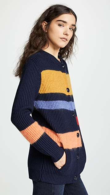Tory Burch Wool Colorblock Cardigan