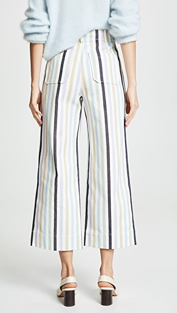 Tory Burch Canvas Wide Leg Cropped Pants