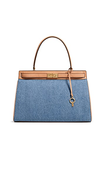 Tory Burch Lee Radziwill Large Denim Satchel