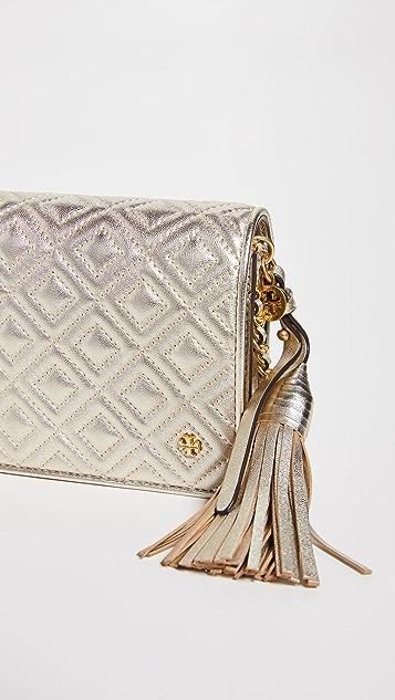 Tory Burch Металлизированная плоская сумка-кошелек Fleming