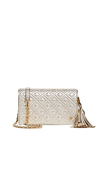 Tory Burch Fleming Metallic Flat Wallet Crossbody Bag