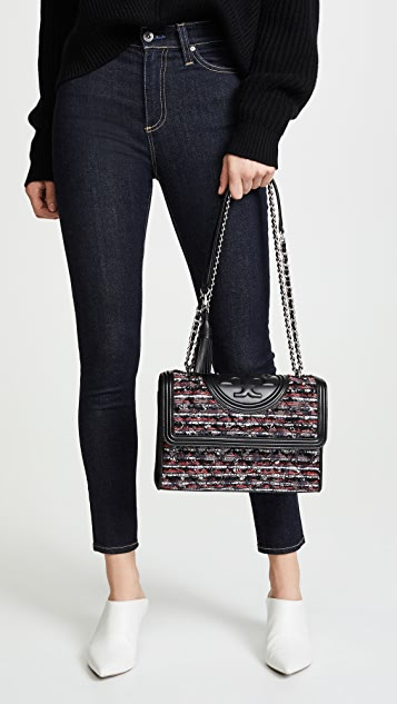 Tory Burch Fleming Tweed Convertible Shoulder Bag