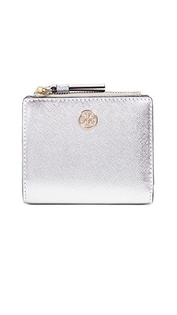 Tory Burch Robinson Metallic Mini Wallet